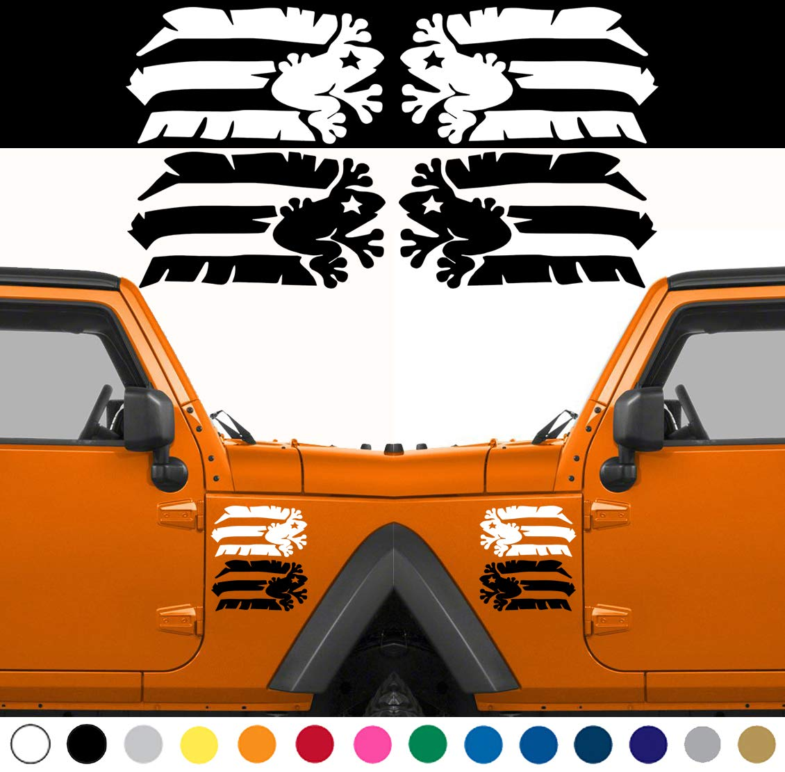 MANY SIZES and COLORS Set of 2 Coqui Taino Puerto Rico Flag Puerto Rican Flag for LEFT and RIGHT Side Door Fender Rear Window Sticker Decal Car Truck Suv Lot Pack Set