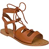 Womens Summer Gladiator Ankle Strappy Lace Up Sandal Flat