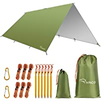 RYACO Camping tentzeil, 3 m x 3 m, tarp voor hangmat, waterdicht, licht, compact, tentonderlegger, picknickdeken…