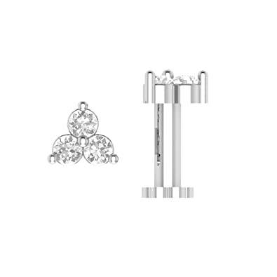 Buy Nv Jewels 14k Gold Plated 3 Stone Nose Pin With Screw In 92 5