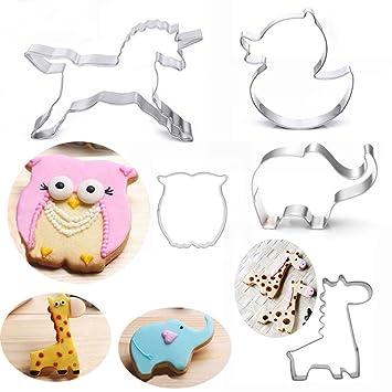 5 moldes para galletas de acero inoxidable con diseño de búho de unicornio búho: Amazon.es: Hogar