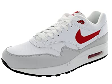 new arrival 5e7ac 41529 Nike Men s Air Max 1 Ltr White University Red Ntrl Grey Running Shoe 7.5