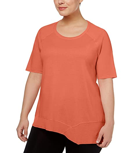 9502d995cf2b5 Calvin Klein Performance Womens Plus Asymmetrical-Hem Short Sleeves T-Shirt  at Amazon Women s Clothing store