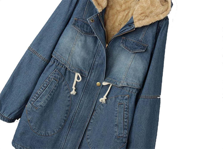 Amazon.com: Decorat-viv Drawstring Cotton Denim Parka Hooded Jackets Plus Velvet Thick Cowboy Padded Coats Jaqueta Feminina C3186: Clothing