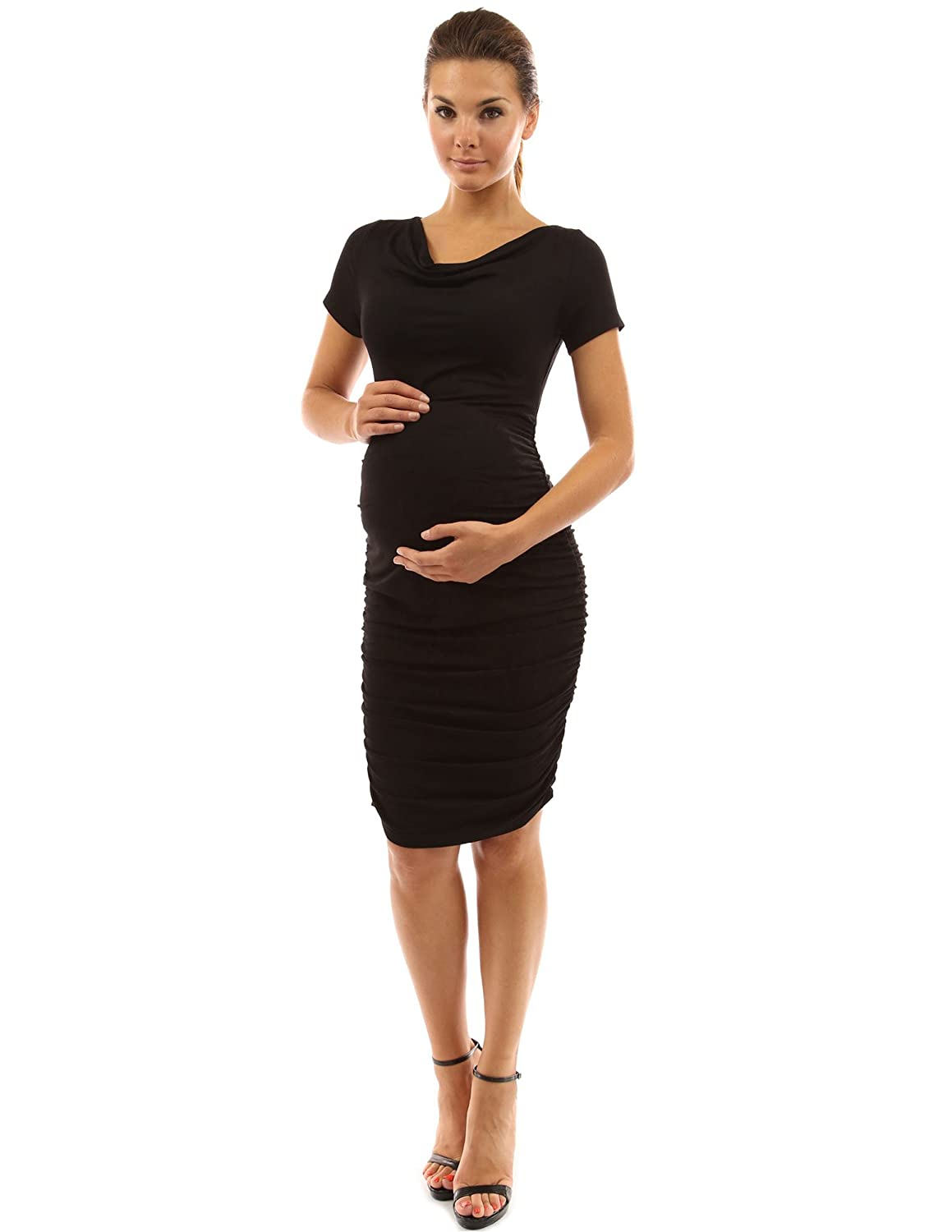 Short sleeve long maternity dress