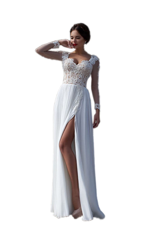 Ikerenwedding Women's Long Illusion Sleeve Applique Split Chiffon Bridal Gown