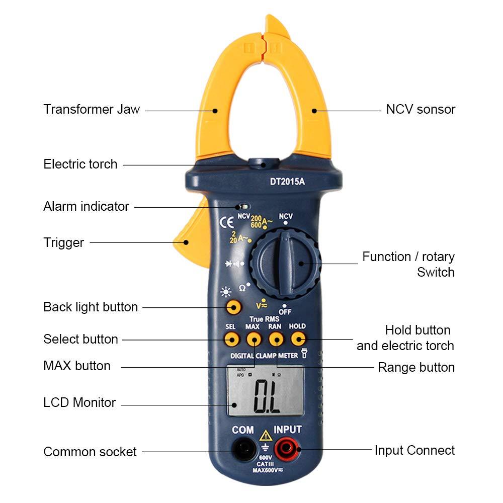 Multimeters, Digital Clamp Meter, Auto Range AC DC Multimeter Test 6000 Counts, TRUE RMS NCV Ohm Diode Resistance Capacitance Meters Temperature Measurements Test Tester, Clamp Multimeter