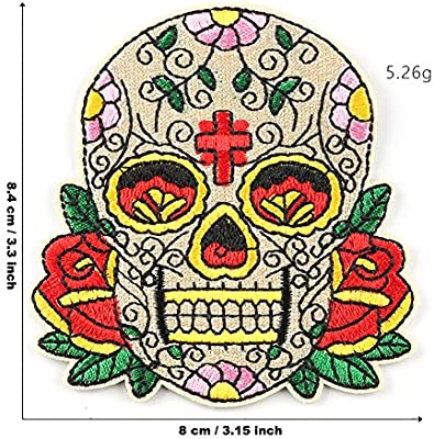 Candy Skull Applique Day of the Dead Iron Patch Sew Embroidered Badge Motif 99