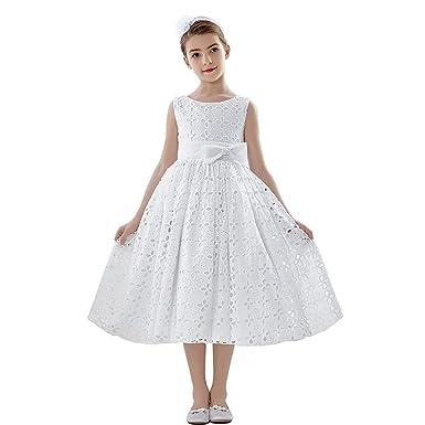 New Girl/'s White Communion Dress Tea Length Ball Gown Party 2 4 6 8 10 12