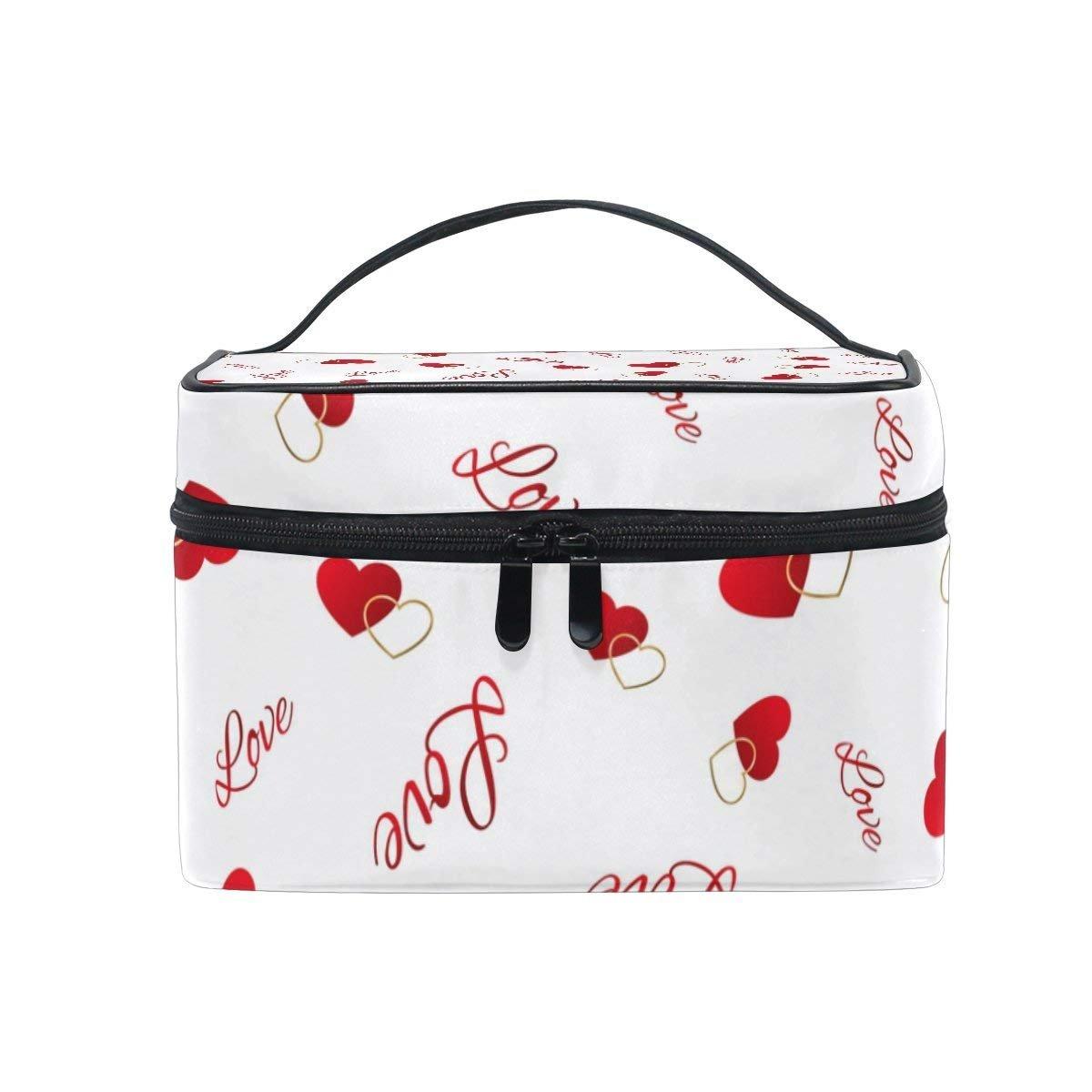 Makeup Bag Love Heart Emoji Mens Travel Toiletry Bag Mens Cosmetic Bags for Women Fun Large Makeup Organizer