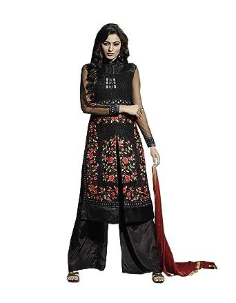 ba19f0c9a8441 Rehsha Women Black Indian Party Wear Pakistani Bridal Net Wedding Dress  Salwar Suit: Amazon.co.uk: Clothing