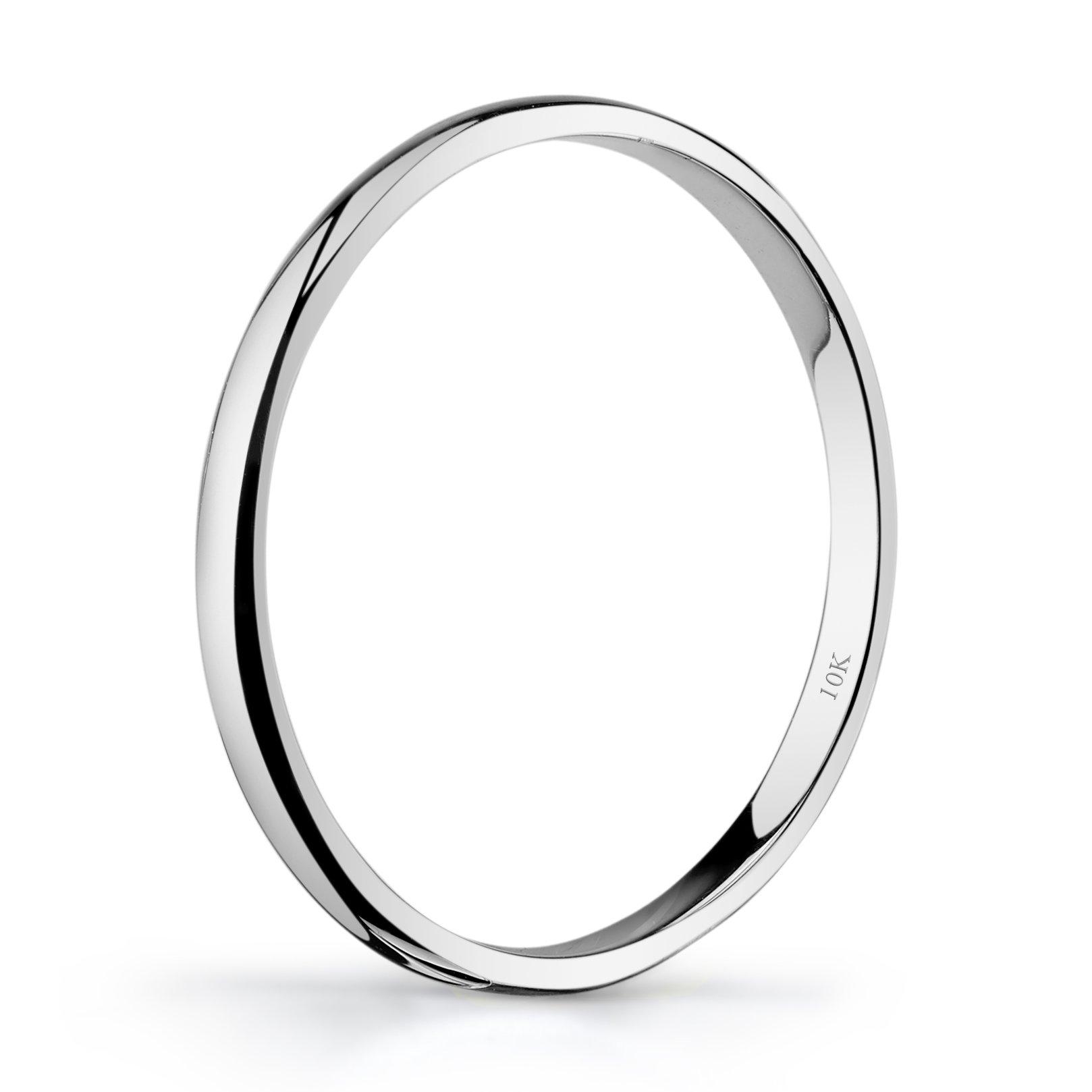 Tesori & Co 10k White Gold Light Comfort Fit 2mm Wedding Band Size 6 by Tesori & Co (Image #2)