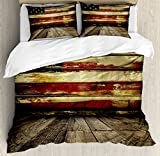 United States King Size Duvet Cover Set by Ambesonne, Vintage American Flag on Wooden Planks Wall Background Grunge Print, Decorative 3 Piece Bedding Set with 2 Pillow Shams, Umber Cream Red Blue