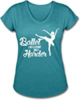 Ballet Women's V-Neck Tri-Blend T-Shirt by Spreadshirt, L, heather turquoise