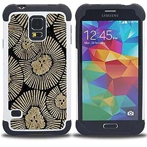 - rustic wallpaper beige floral pattern/ H??brido 3in1 Deluxe Impreso duro Soft Alto Impacto caja de la armadura Defender - SHIMIN CAO - For Samsung Galaxy S5 I9600 G9009 G9008V