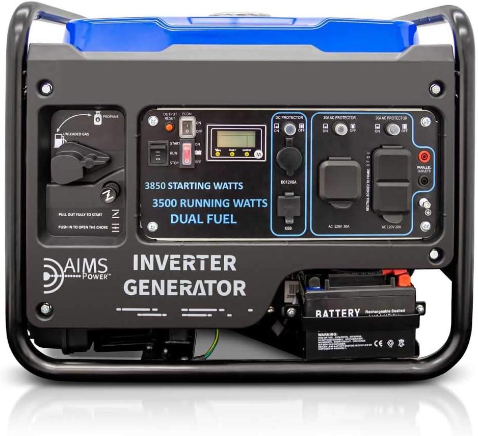 Inverter Generator Dual Fuel 3850 Watts EPA Compliant Dual Fuel Generator Unleaded/LP 3850 watts starting, 3500 continuous
