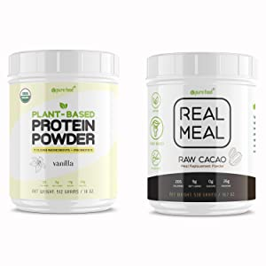 Pure Food Real Meal Replacement Powder + Vanilla Protein Powder | Plant-Based, Vegan, Superfood with Probiotics
