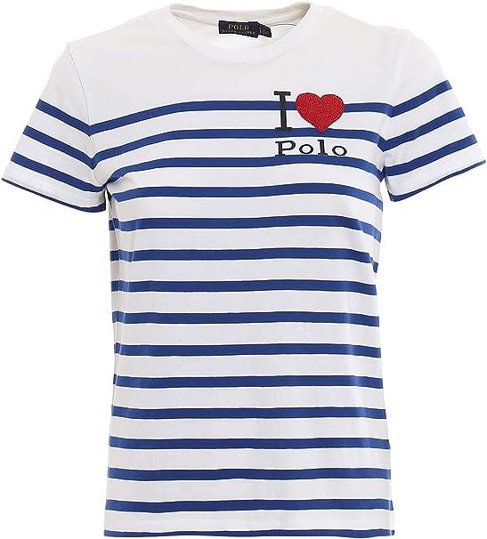 Polo Ralph Lauren BD HRT RL t-Short Sleeve-Knit Bianco Donna M ...
