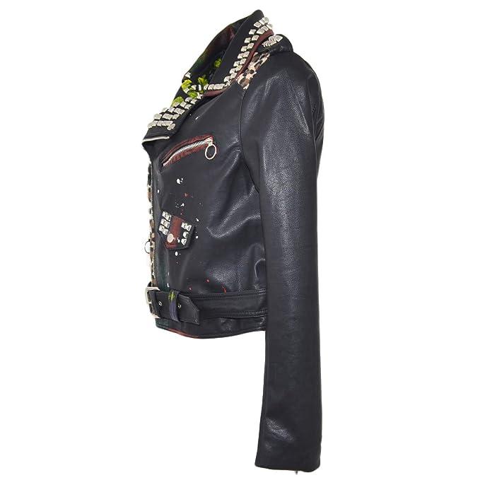 Chiodo donna giacca a fantasia animalier con disegni e stampe modello zara con fibbie e cinghie moda underground donna chiodo pelle Malu Shoes  