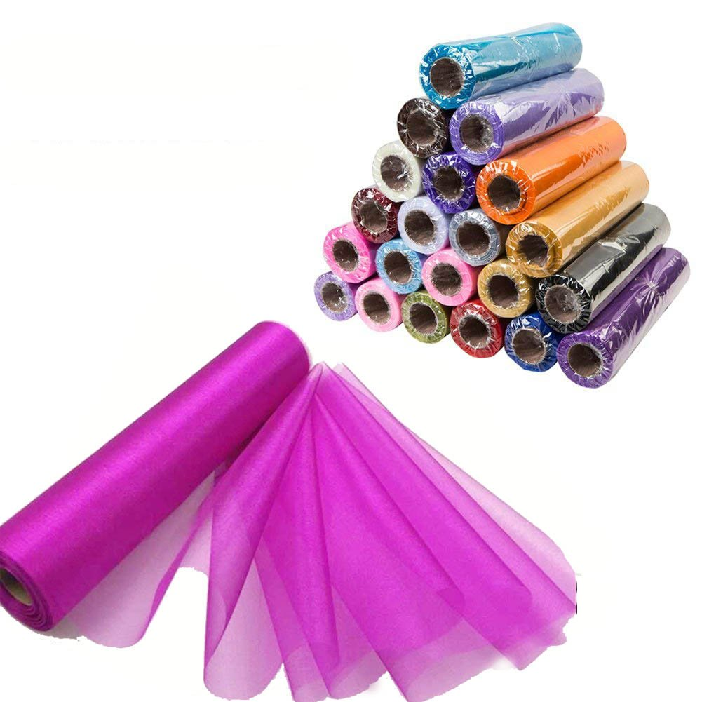 Meijuner 29CM Width X 25M Length Organza Roll Sashes Fabric Table Runner Chair Sashes Bow for Decoration Burgundy