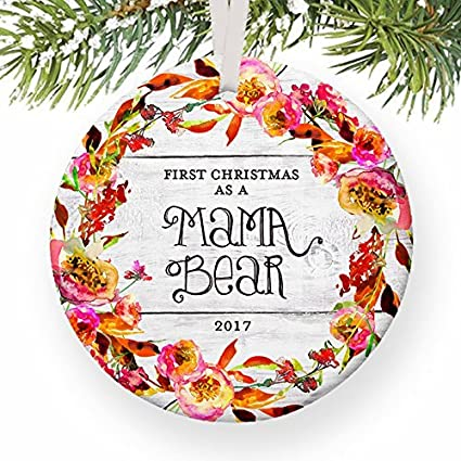 Christmas Tree Ornaments First As A Mama Bear 1st Xmas Mother New Baby