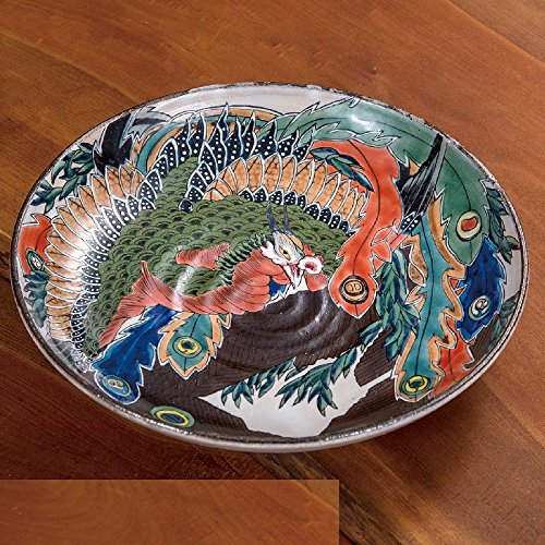 Jpanese traditional ceramic Kutani ware. Large plate. Hokusai happo nirami hououzu. With paper box. ktn-K5-0378 from Kutani