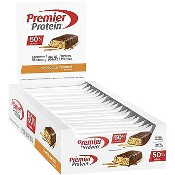 Premier Protein Bar 50% Chocolate Caramel Barritas Proteinas con Poca Azúcar - 24 Barras