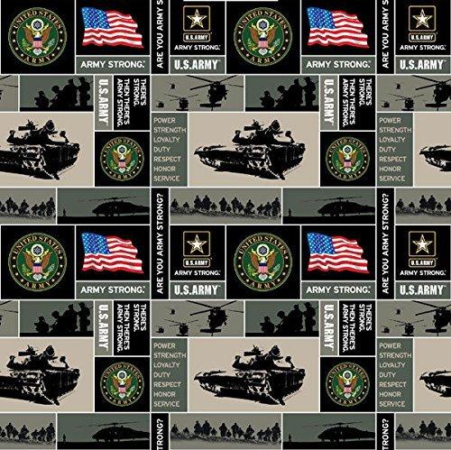 United States of America Army USA Military Fleece Fabric Print by the Yard (Military Fleece Fabric)