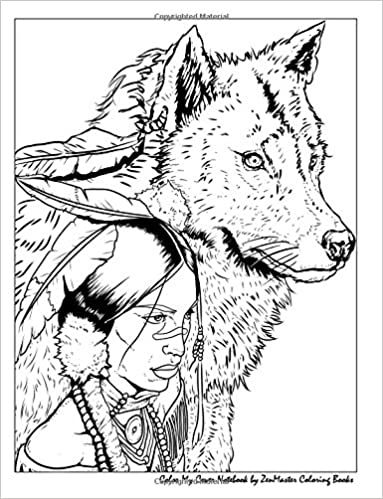 Color My Cover Notebook (Native American Woman and Wolf ...