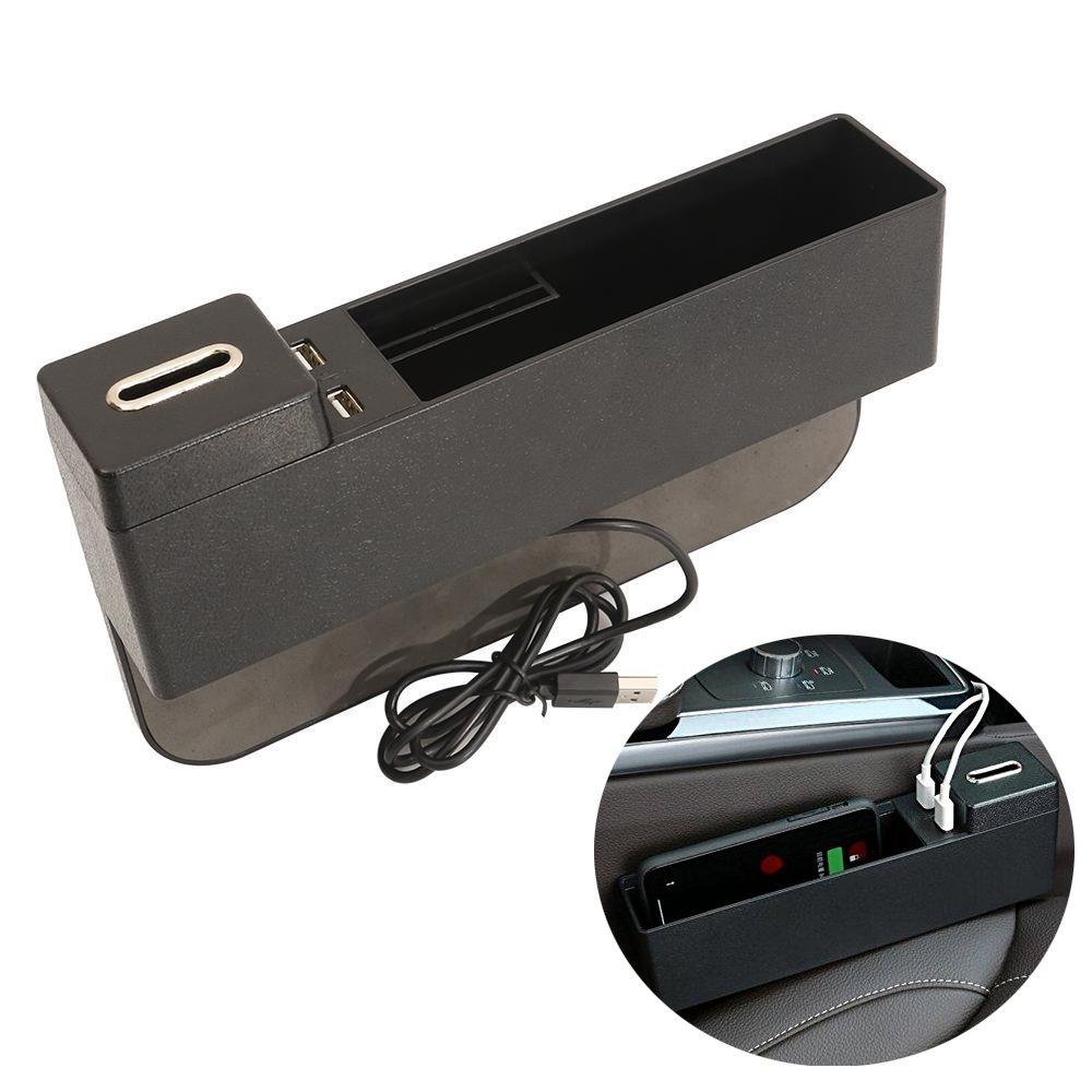 Vvhooy seggiolino auto Gap filler, console tasca laterale tasca laterale, seggiolino auto tasca organizer con portamonete e 2 porte USB per cellulari, chiavi, carte, portafogli, monete