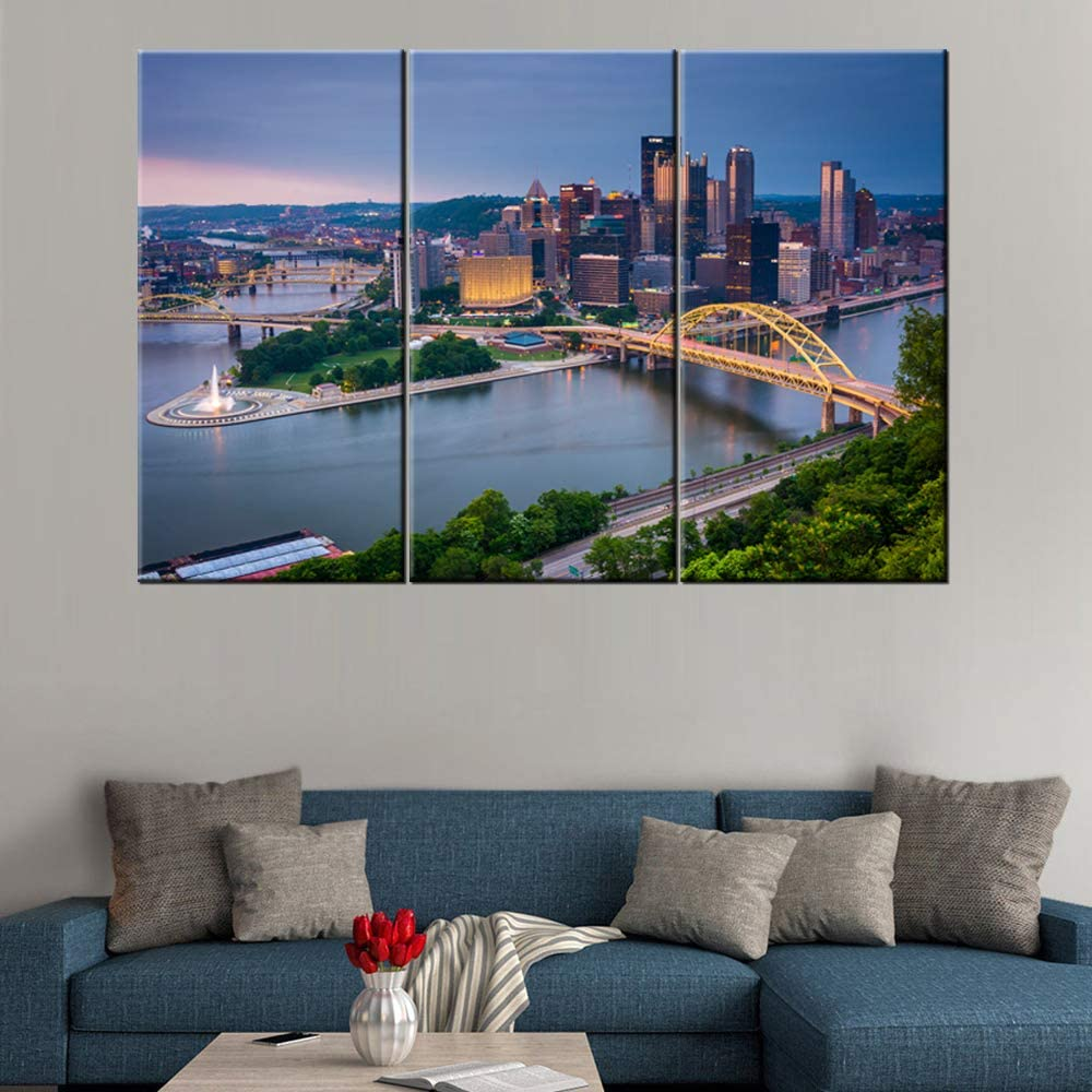 Pittsburgh from the top of the Duquesne Incline in Mount Washington Giclee Canvas Prints Modern Stretched and Framed Art Work Cityscape Pictures Paintings on Canvas Wall Art for Bedroom Home Decor
