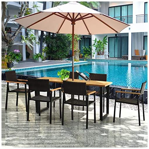 Garden and Outdoor Tangkula 7PCS Outdoor Dining Set, Patio Dining Furniture Set w/Large Rectangle Acacia Wood Table Top, Rattan Chairs with… patio dining sets