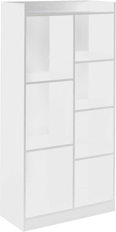 URBNLIVING Blanc Haut en Bois 7/Cube Biblioth/èque Meuble de Rangement