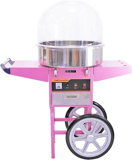 KUKOO Máquina de Algodón de Azúcar Acero Inoxidable Máquina Eléctrica para Hacer Algodón de Azúcar Cotton Candy Machine Commercial (con Cubierta y Carrito): Amazon.es: Hogar