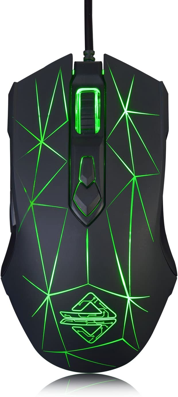 Ajazz AJ52 Watcher RGB Gaming Mouse, Programmable 7 Buttons, Ergonomic LED Backlit USB Gamer Mice Computer Laptop PC, for Windows Mac OS Linux, Star Black