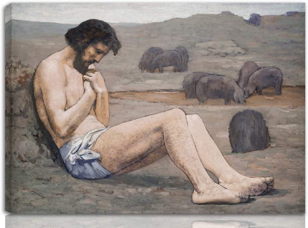 Berkin Arts Pierre Puvis De Chavannes Stretched Giclee Print On Canvas-Famous Paintings Fine Art Poster-Reproduction Wall Decor Ready to Hang(The Prodigal Son)#NK