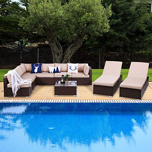 Green4ever Outdoor Patio 9 Piece Rattan Furniture Set, All Weather PE Wicker Sectional Set Conversation Sofa Sets with 2 Pieces Lounge Chaise Chairs and Coffee Table, Brown Wicker Beige Cushions