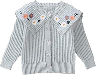 Moonnut Little Girls Cardigan Cable Knit Thick Sweater for 1-5 Years