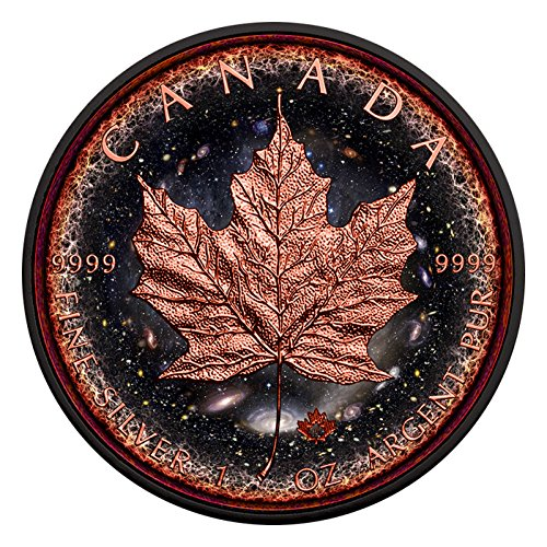 2016 CA Canadian Maple Leaf Logarithmic Universe 1oz fine silver coin Ruthenium Plated 24K Rose Gold Gilded $5 Brilliant Uncirculated