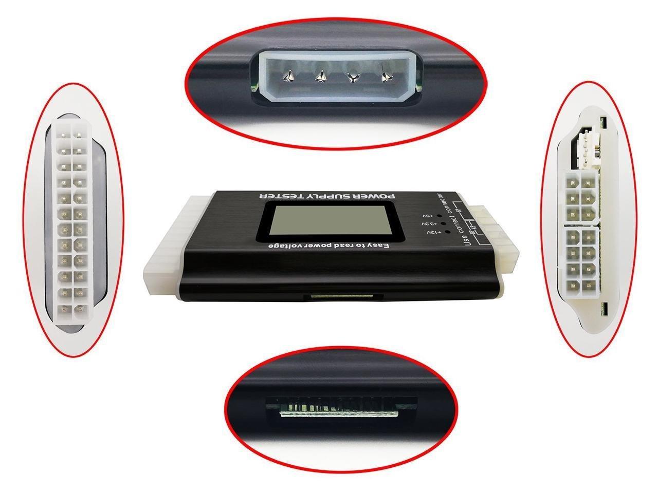 Tekit Computer PC Power Supply Tester, ATX / ITX / IDE / HDD / SATA / BYI Connectors Power Supply Tester, 1.8'' (Aluminum Alloy Enclosure) 20/24 pin 4 SATA HDD Testers by tekit (Image #3)