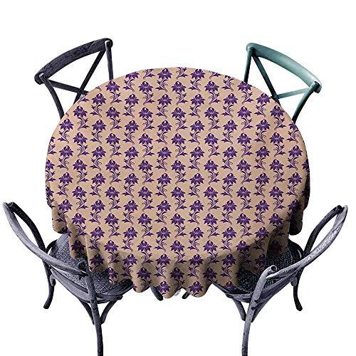 Lcxzjgk Dust-Proof Tablecloth Purple Victorian Influences on Purple Flower Arrangement Ancestral Blooming Nature Motifs Bege Plum Washable Tablecloth