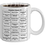 Mental Health Counselor Professionals Therapist Funny Gift Comparative Therapies 101 - Funny Shit Therapist GAG Gift Ceramic 15 oz White Coffee Mug By Blue Feather Web