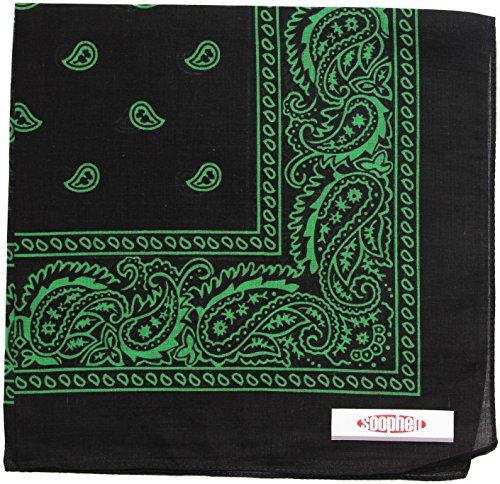 Soophen One Dozen Cowboy Bandanas (32. Black and Green)