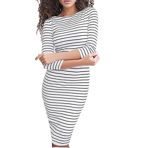Fashion Women Stripe Crew Neck 3/4 Sleeve Slim Bodycon Midi Causal Dress