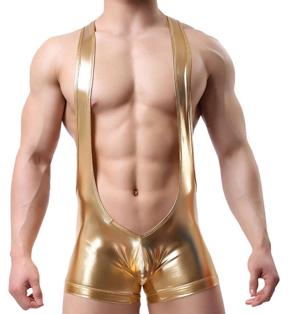 TESOON Men Sexy Wrestling briefs Leather Underwear Bodysuit PantTESOON Men Sexy Wrestling briefs Leather Underwear Bodysuit Pant Golden Large,Golden,Medium by TESOON