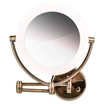 Amazon Com Ovente Wall Mount Led Lighted Makeup Mirror 9 5 Inch