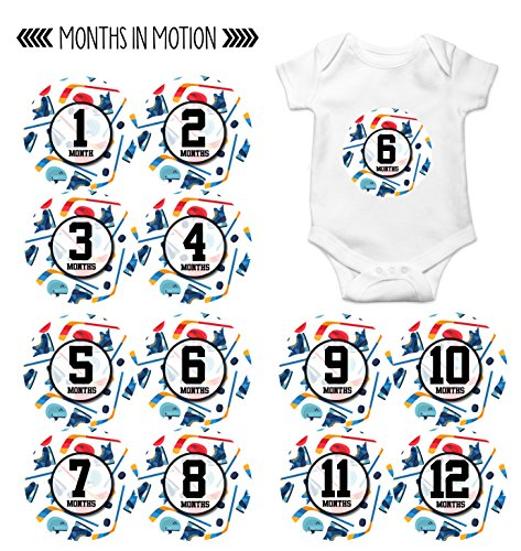 Monthly Baby Stickers by Months In Motion | 12 Month Milestone Sticker for Newborn Babies Boy Sports Hockey (Style 1161)