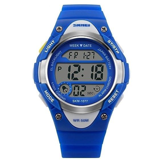 Niños y niñas Reloj Digital para niños Deportes Relojes Impermeables al Aire Libre con Reloj Despertador, Reloj de Pulsera LED electrónico Reloj de Pulsera: ...