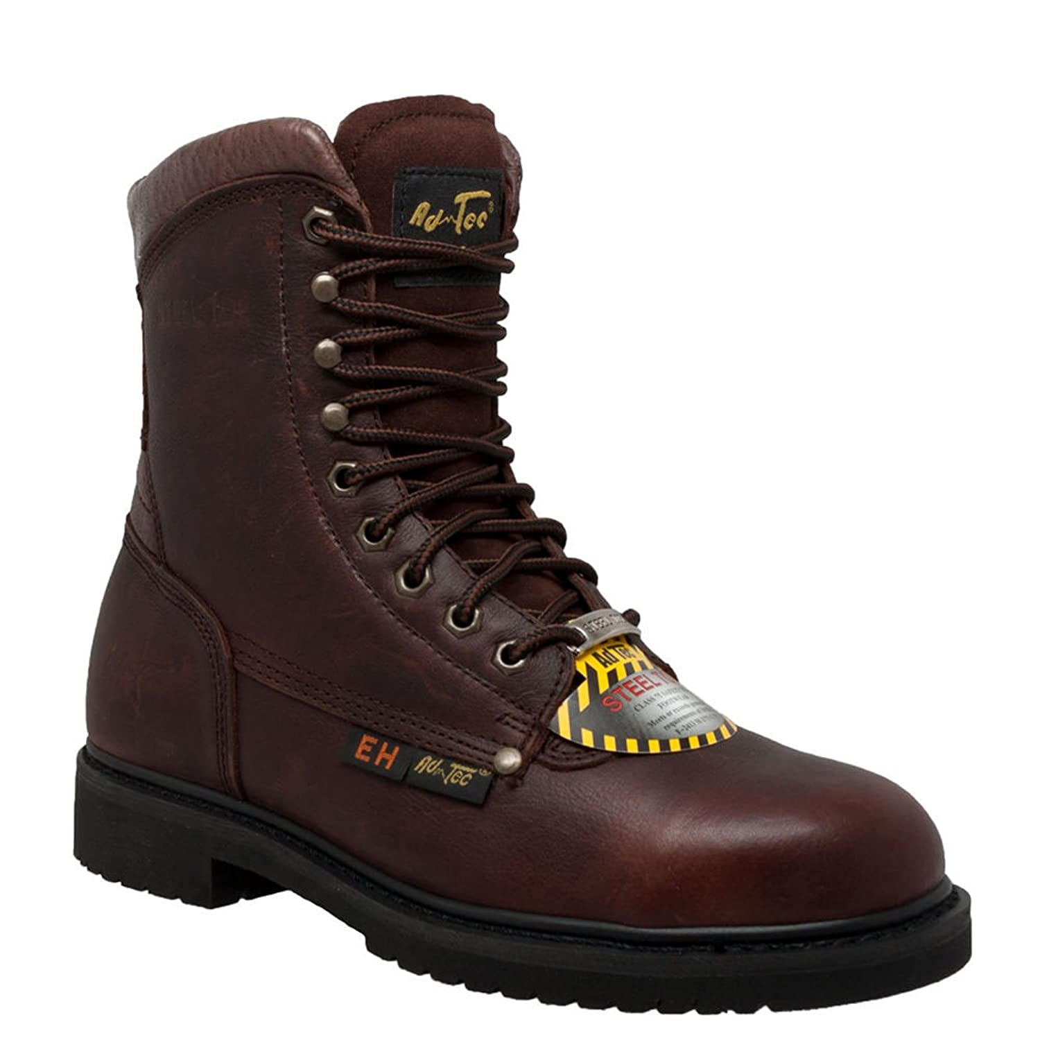 "AdTec Men's 1050 8"" Steel Toe Brown Work Boot"