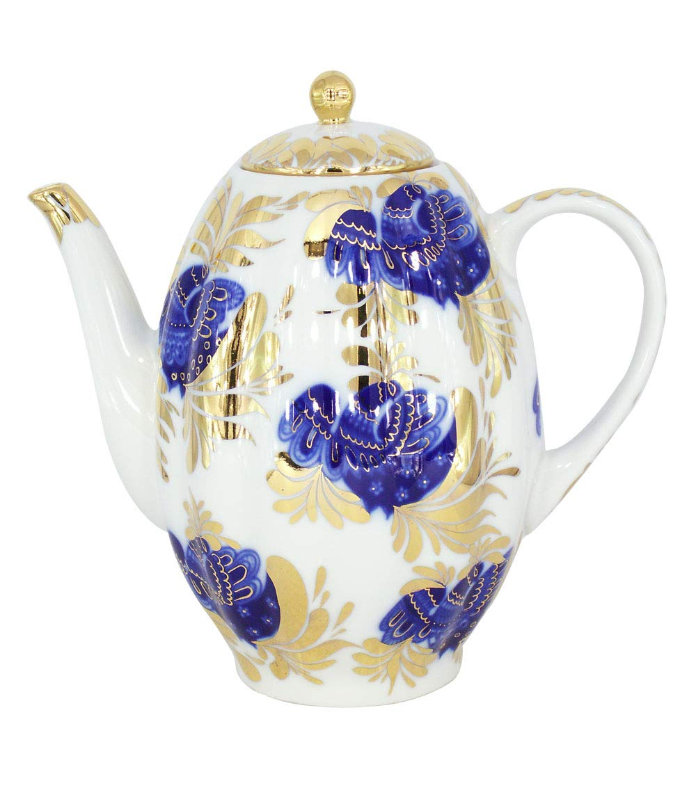 Lomonosov Porcelain Coffee Pot Golden Garden 22 Karat Gold 8 Cups 40 oz//1200 ml Lomonosov Russia